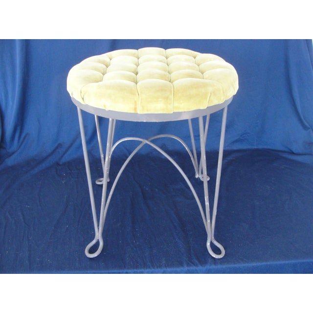 Fabric 1960s Hollywood Regency Yellow Metal Wire Frame Vanity Stool For Sale - Image 7 of 7