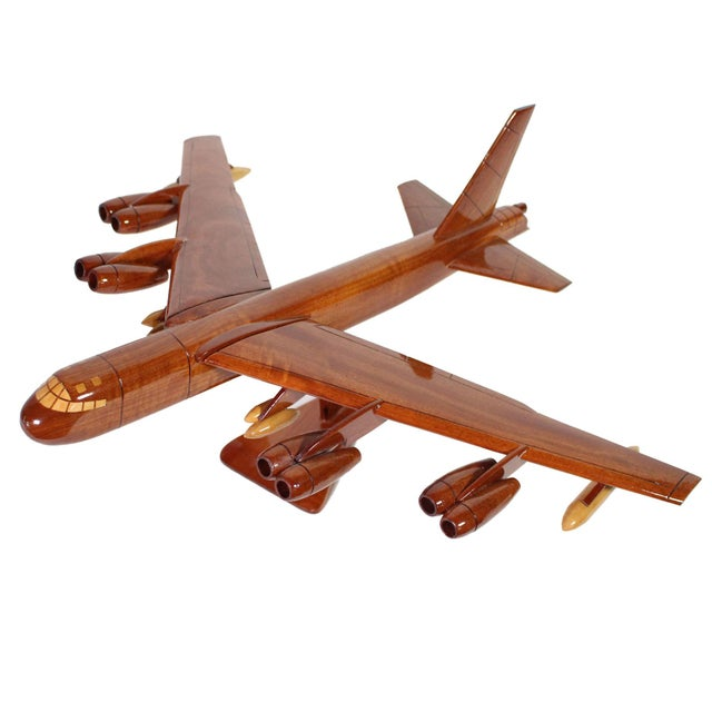 Brown 1970s Mid-Century Hand Carved Wood Replica B-52 Jet Plane For Sale - Image 8 of 8