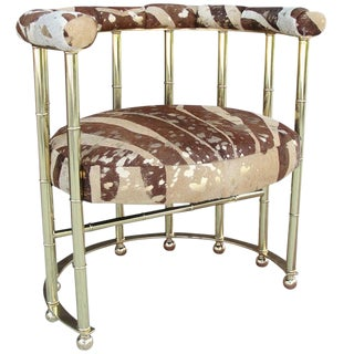 Glamorous Brass and Leather Armchair For Sale