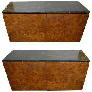 Pair Marble Top Burl Wall Mount Cabinets For Sale
