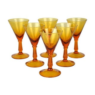 Vintage Amber Cordials - Set of 6