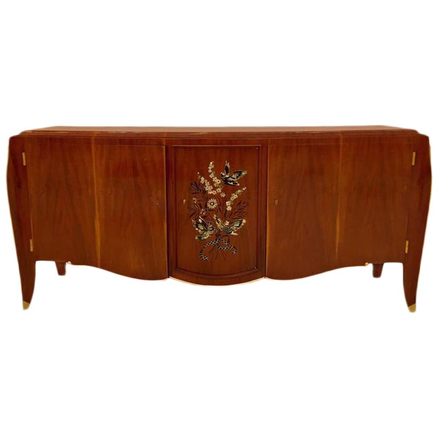 Jules Leleu French Art Deco Mother-of-Pearl Inlay Butterfly Buffet For Sale