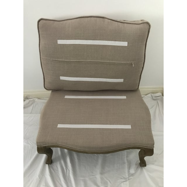 French Style Linen Ottoman - Image 4 of 5