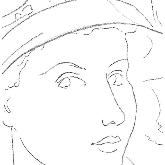 """Contemporary Sarah Myers """"Woman in a Flared Hat"""" Modern Line Drawing For Sale - Image 3 of 7"""