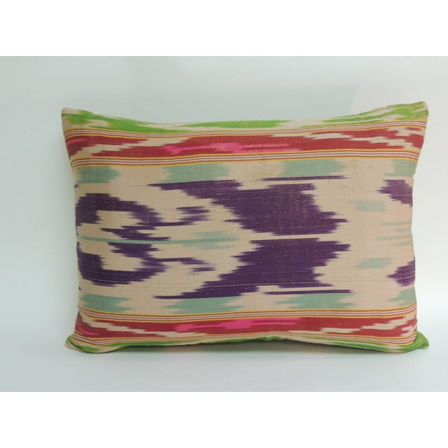 Antique Colorful Silk Ikat Artisanal Textile Decorative Lumbar Pillow For Sale - Image 4 of 4