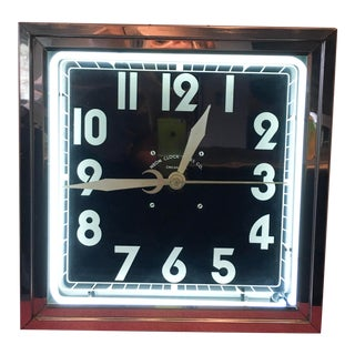 Mid-Century Neon Clock For Sale