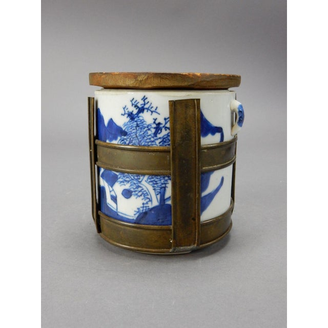 Gorgeous Antique Chinese Blue and White Tobacco Jar/ Tea Container. Hand painted with Gilt Wood Lid. Great colors and...