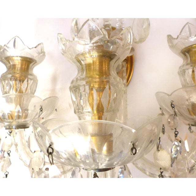 Art Deco Crystal & Bronze 1940's Three Arm Wall Electrified Wall Sconces - a Pair For Sale - Image 3 of 9