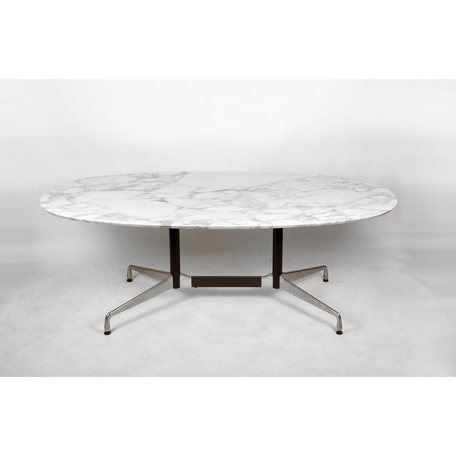 Herman Miller Charles Eames for Herman Miller Aluminum Group Calacatta Marble Table Desk For Sale - Image 4 of 8