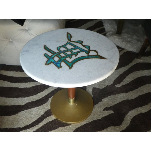 Rare Mid-Century Pepe Mendoza Marble Top Side Table For Sale - Image 11 of 13