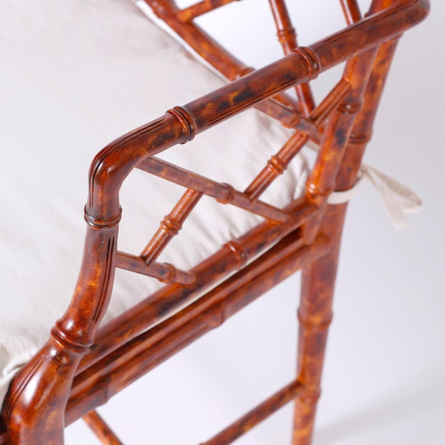 Faux Bamboo Chinese Chippendale Armchairs - Set of 4 For Sale - Image 7 of 11