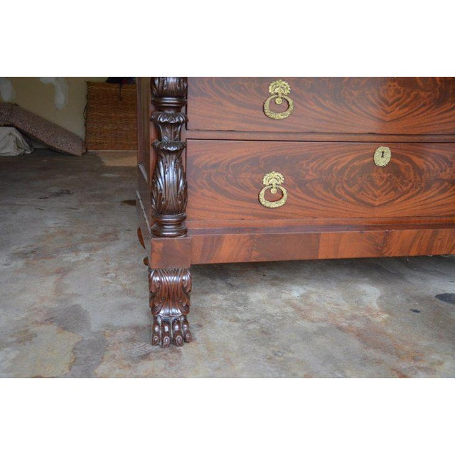 Wood Antique French Style Claw Foot Marble Top Commode For Sale - Image 7 of 8