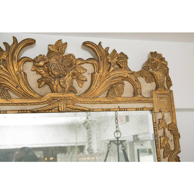 Gold 20th Century Louis XVI Style Parcel Gilt and Cream Painted Wall Mirror For Sale - Image 8 of 8
