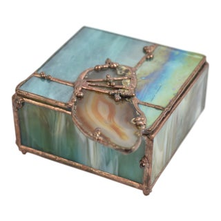 Agate, Copper & Stained Glass Box