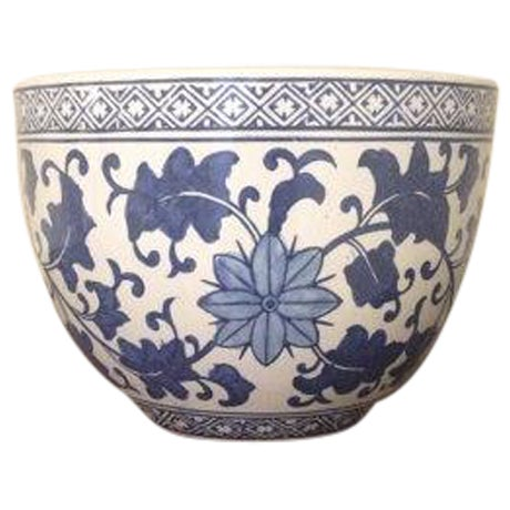 Blue and White Chinoiserie Oriental Planter - Image 1 of 4