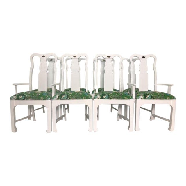 Vintage Asian Chinoiserie Style Dining Chairs - Set of 8 For Sale