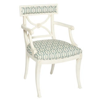Schumacher Westminster Belvedere Peacock Blue Hand-Carved Beechwood Armchair For Sale