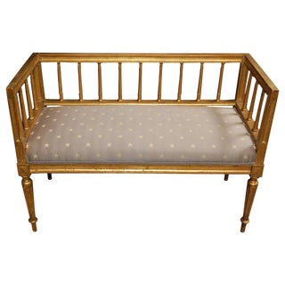 19th c. Swedish Gilded Gustavian Style Bench For Sale