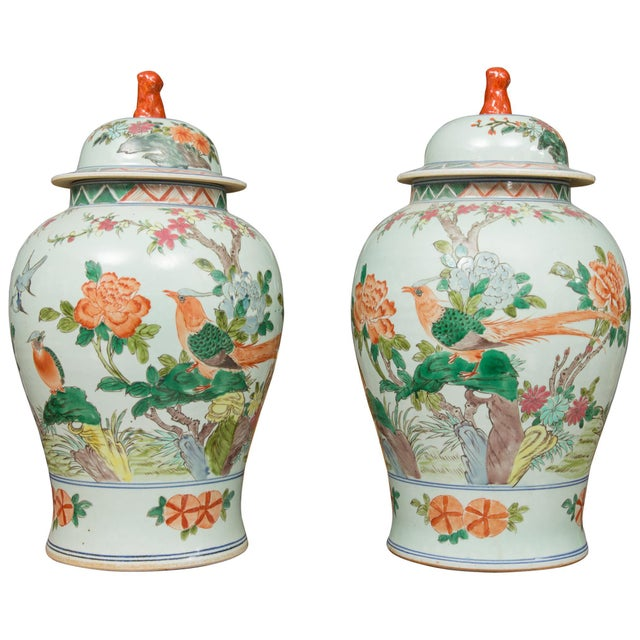 Chinese Celadon Lidded Urns - a Pair For Sale - Image 12 of 12