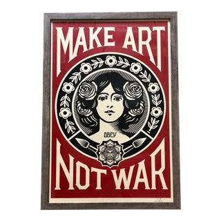 "Shepard Fairey ""Make Art Not War"" Signed & Framed Offset Lithograph For Sale"