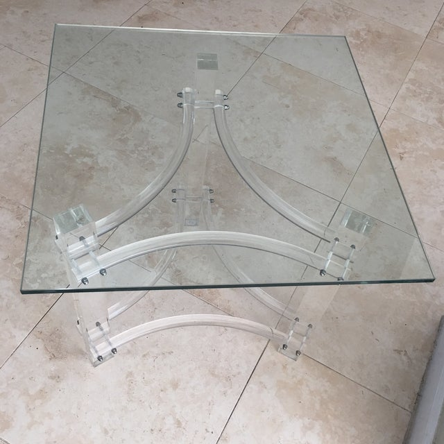 Mid-Century Lucite Glasstop End Table - Image 2 of 3