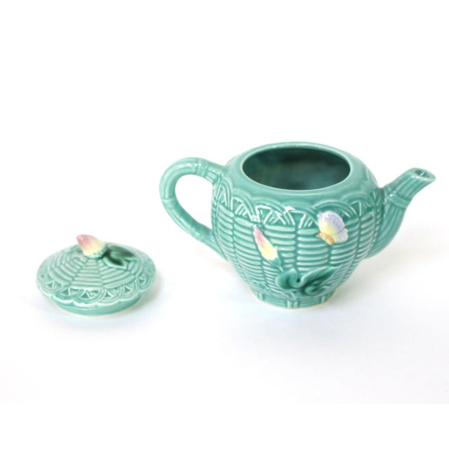 80's Majolica Luncheon or Dessert Tea Set, Morning Glory Pattern Set of 11 For Sale In Los Angeles - Image 6 of 11
