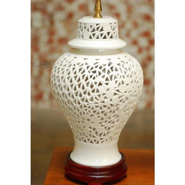 Blanc de Chine Porcelain Ginger Jar Table Lamps - A Pair For Sale - Image 5 of 9
