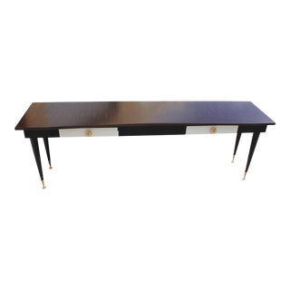 Monumental French Art Deco Macassar Ebony ,Parchment drawer Console Table, circa 1940.