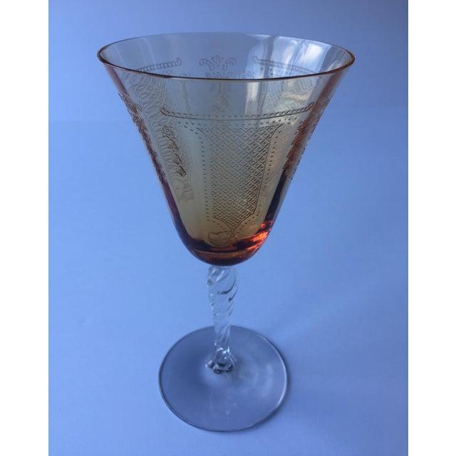 French Antique Fleur De Lis Etched Amber Glass Tableware Set - Set of 37 For Sale - Image 3 of 11