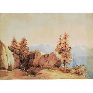 1832 Miniature Watercolor Landscape Painting For Sale