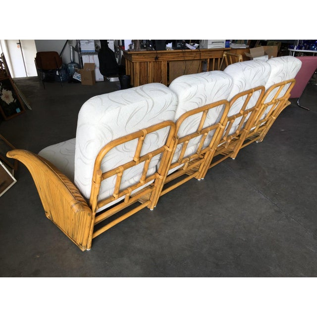 1930s Restored Art Deco Rattan Fan Arm Three-Seat Sofa & Lounge Chair Livingroom Set For Sale - Image 5 of 11