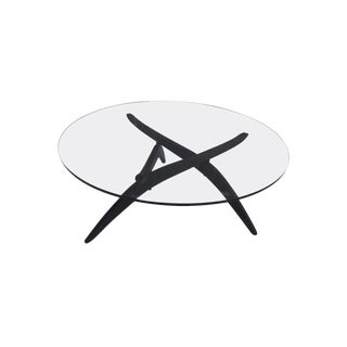 Adrian Pearsall Round Glass and Walnut Spider Leg Coffee Cocktail Tripod Table For Sale