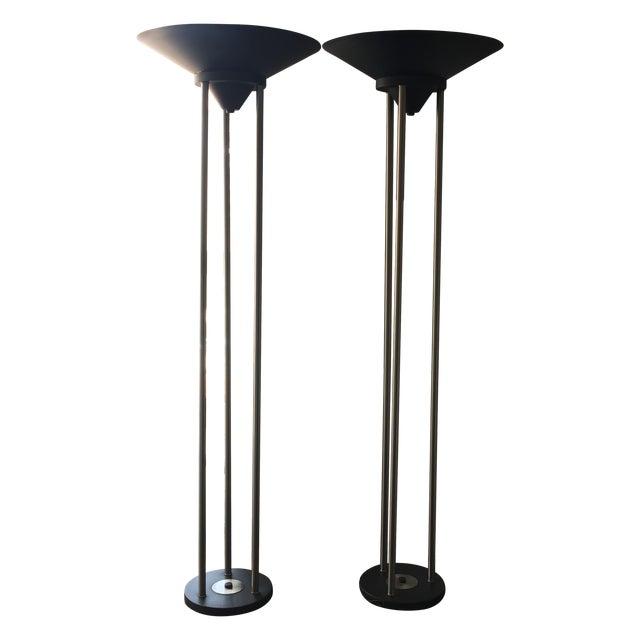 Contemporary Metal Floor Lamps - Pair - Image 1 of 3