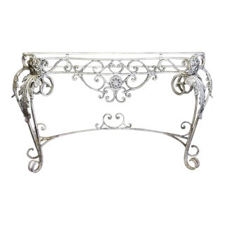 White Iron Floral Console Table