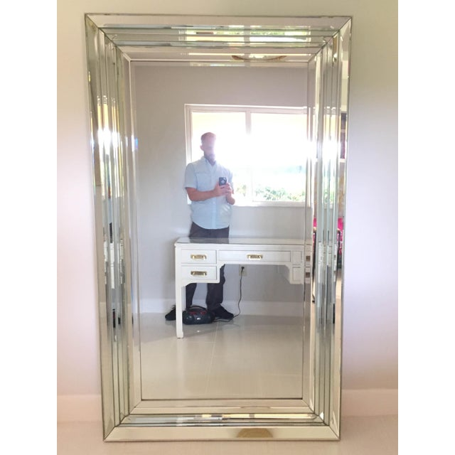 2010s Leaning Six-Bevel Framed Mirror For Sale - Image 5 of 9