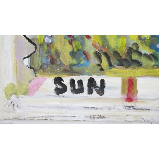Mladen Novak Sunflower Acrylic Painting on Antique Tin Panel For Sale - Image 4 of 7