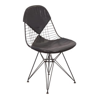 Black Eames Wire Chair With Bikini Cover on Eiffel Base for Herman Miller For Sale