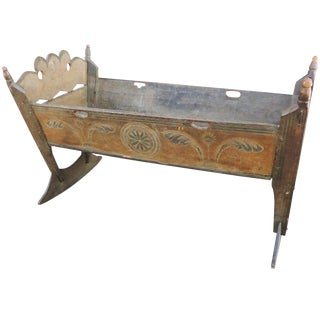 Important & Rare Pennsylvania 18thc Paint Decorated Cradle For Sale