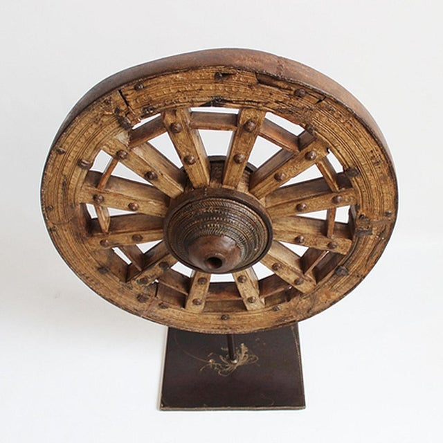 Large Ox Cart Wheel on Stand - Image 2 of 2