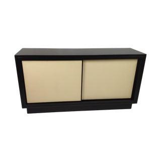 Modern Leather Media Cabinet For Sale