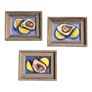 Gallery Wall Collection 3 Original Contemporary Impressionist Modernist Still Life Oyster With Lemons Small Paintings Barn Wood Frames For Sale