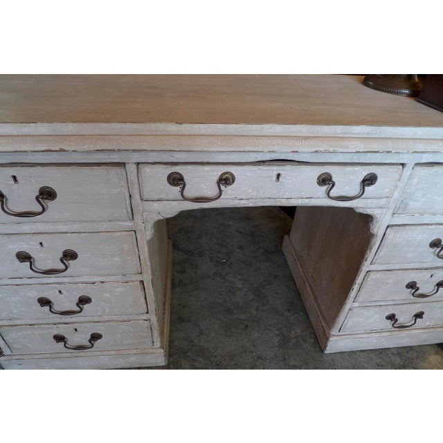 19th Century 19th Century English XIX Painted Knee-Hole Partner Desk For Sale - Image 5 of 12