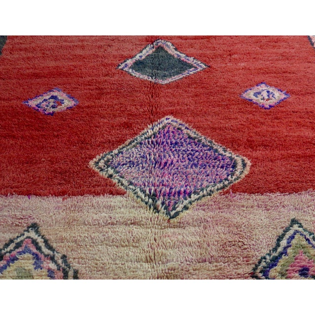 Abstract Vintage Moroccan Boujad Rug For Sale - Image 3 of 11