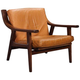 Leather Upholstered Armchair by Hans Wegner For Sale