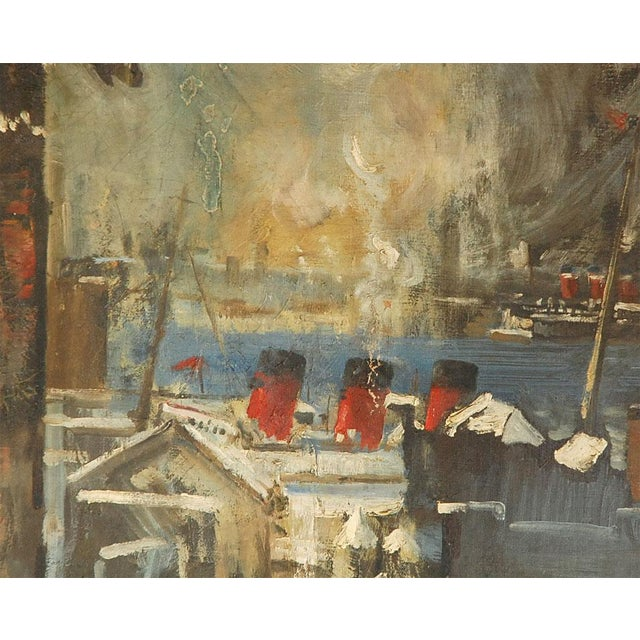 1940s Oil Painting of Bear Overlooking Shipyard For Sale In Los Angeles - Image 6 of 9