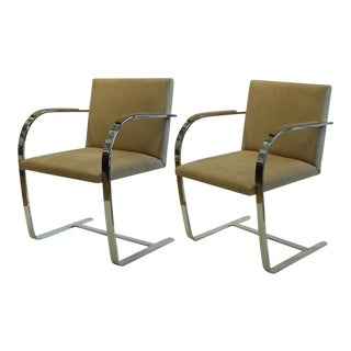Vintage Mies Van De Rohe for Knoll Suede Flatbar Brno Chairs C. 1970-1980