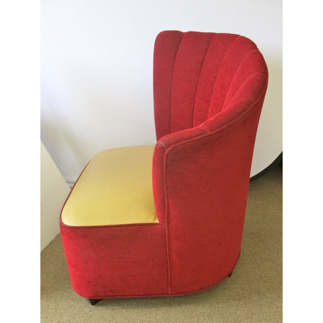 Red Mid-Century Channel Back Chairs - A Pair For Sale In New York - Image 6 of 6