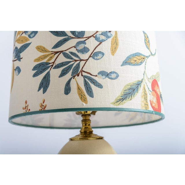 Antique French Ostrich Egg Table Lamps With Brass & Marble Base, A-Pair For Sale - Image 11 of 13