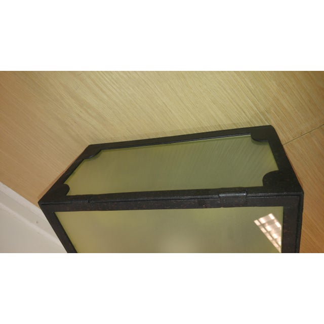 Reborn Lighting Custom Black Iron Finish & Frosted Glass Square Flush Mount Fixture For Sale - Image 4 of 7