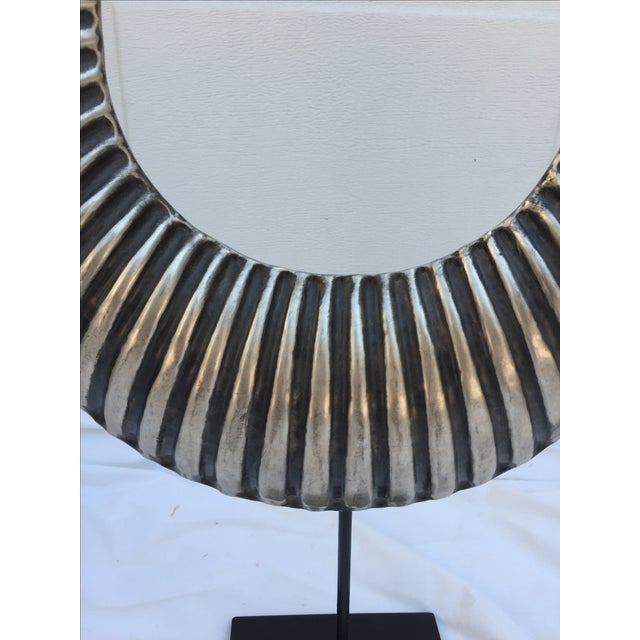 Vintage Tribal Silver Metal Necklace on Stand - Image 4 of 7